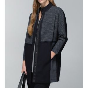 Lulu Cocoon Car Coat Diamond Jacquard Long Jacket